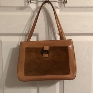 Anne Klein Small Tan/Suede Leather Tote